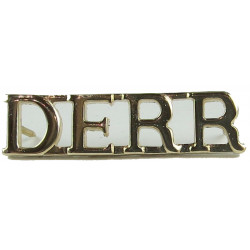 DERR (Duke Of Edinburgh's Royal Regiment) 2nd Pattern  Anodised Army Staybrite shoulder title