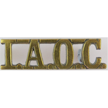 IAOC (Indian Army Ordnance Corps) 43.5mm Wide  Brass Army metal shoulder title