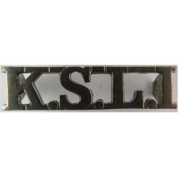 KSLI (King's Shropshire Light Infantry) 45.5mm Wide  Chrome-plated Army metal shoulder title