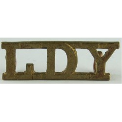 LDY (Leicestershire & Derbyshire Yeomanry) Rare  Brass Army metal shoulder title