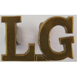 LG (Life Guards) - Small Size - Officers'   Brass Army metal shoulder title
