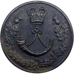 Cameronians (Scottish Rifles) 25mm - Black with Queen Elizabeth's Crown. Horn Military uniform button