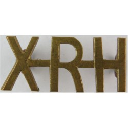 XRH (10th Royal Hussars Prince Of Wales's Own)) 29.5mm Wide  Brass Army metal shoulder title