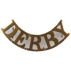 Derby (Sherwood Foresters (Derbyshire Regiment)) 1881-1902  Brass Army metal shoulder title