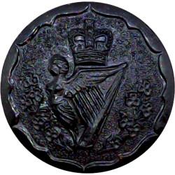 Royal Irish Rangers 23.5mm - Black with Queen Elizabeth's Crown. Plastic Military uniform button
