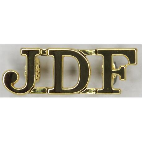JDF (Jamaica Defence Force)   Gilt Army metal shoulder title