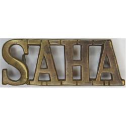 SAHA (South African Heavy Artillery) WW1  Brass Army metal shoulder title