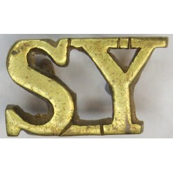SY (Shropshire Yeomanry) Post-1947 No Westlake Picture  Brass Army metal shoulder title
