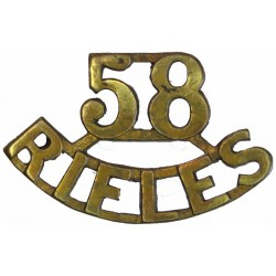 58 / Rifles (58th Vaughan's Rifles (Frontier Force)) 1903-1922  Brass Army metal shoulder title