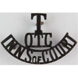 T / OTC / Inns Of Court Pre-1932 - Black  Brass Army metal shoulder title