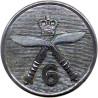6th Queen Elizabeth's Own Gurkha Rifles 25mm - Black with Queen Elizabeth's Crown. Plastic Military uniform button