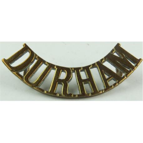 Durham (Durham Light Infantry) - Curved No Bugle  1907-1917  Brass Army metal shoulder title