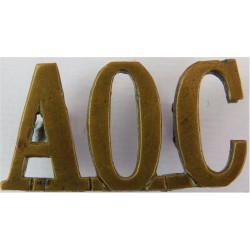 AOC (Army Ordnance Corps) Pre-1918  Brass Army metal shoulder title