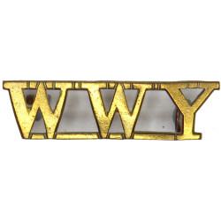WWY (QO Warwickshire & Worcestershire Yeomanry)   Brass Army metal shoulder title