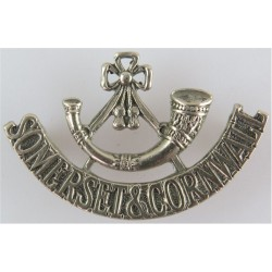Bugle / Somerset & Cornwall - One-Piece 1959-1966 Mouthpiece FL  White Metal Army metal shoulder title