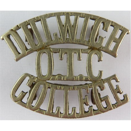Dulwich / OTC / College   White Metal Army metal shoulder title