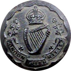 London Irish Rifles 24.5mm - Black with King's Crown. Horn Military uniform button