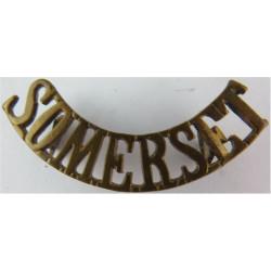 Somerset (Somerset Light Infantry) No Bugle - Pre-1919  Brass Army metal shoulder title