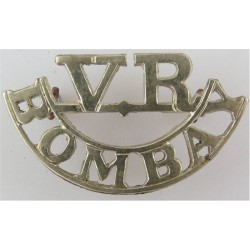 VR / Bombay (Bombay Volunteer Rifles) Disbanded 1947 Army Of India  White Metal Army metal shoulder title