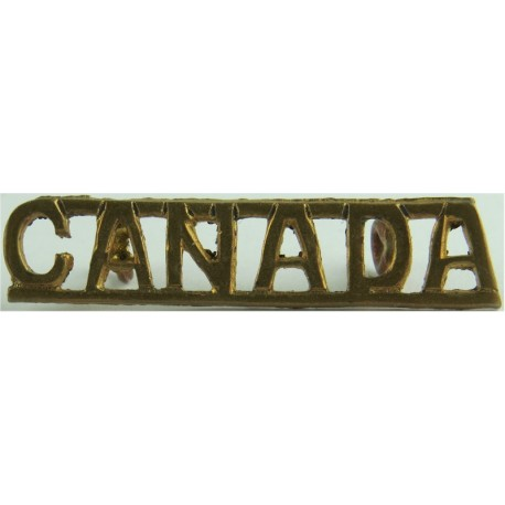 Canada (Officers' Pattern Shoulder Title) - WW2 9mm High Straight  Brass Army metal shoulder title