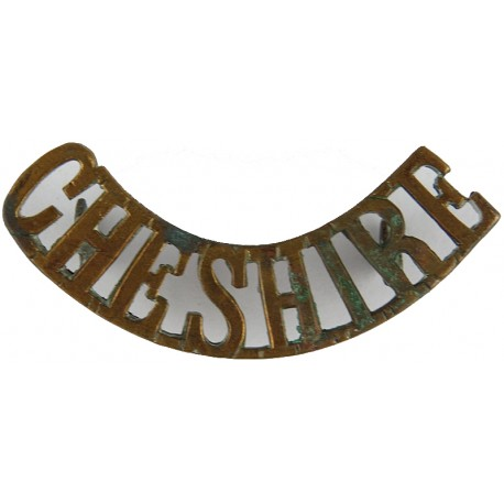 Cheshire (Cheshire Regiment) Post-1902- 52mm Long  Brass Army metal shoulder title
