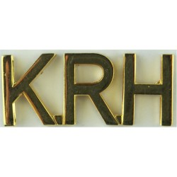 KRH (King's Royal Hussars) - Gap-Top Letters Post-1993  Gilt Army metal shoulder title