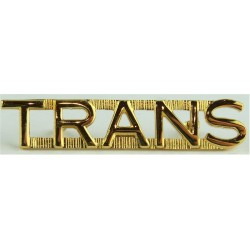 Trans (Transmissions - French Canadian Army Signals)   Gilt Army metal shoulder title