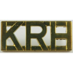 KRH (King's Royal Hussars) - Top-Joined Letters Post-1993 Officers  Gilt Army metal shoulder title