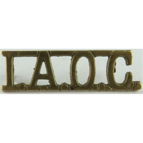 IAOC (Indian Army Ordnance Corps) 45.5mm Wide  Brass Army metal shoulder title