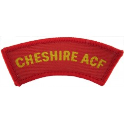 Cheshire ACF Yellow On Red  Woven Sew-on Army cloth shoulder title