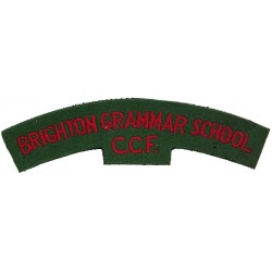 Brighton Grammar School / CCF Red On Green  Embroidered Sew-on Army cloth shoulder title