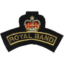 Royal Band (Royal Marines Band Portsmouth Post-1998) Gold On Navy Blue with Queen Elizabeth's Crown. Lurex Sew-on Army cloth sho
