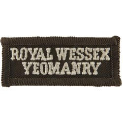 Royal Wessex / Yeomanry (White On Olive) Rectangle  Embroidered Sew-on Army cloth shoulder title