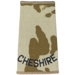 Cheshire (Cheshire Regiment) Black On Desert DPM  Embroidered Slip-on Army cloth shoulder title