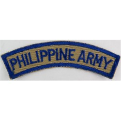 Philippine Army Blue On Grey  Embroidered Non-British Army shoulder title