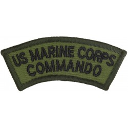 US Marine Corps / Commando (Royal Marines Qualified) Black On Olive  Embroidered Non-British Army shoulder title