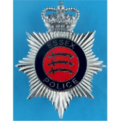 Essex Police - Coat Of Arms Centre Helmet Star - Enamel with Queen Elizabeth's Crown. Chrome and enamelled Police or Prisons hat