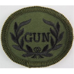 GUN In Wreath (Armoured Infantry AFV Rarden Gunner) Black On Olive Green  Embroidered Army cloth trade badge