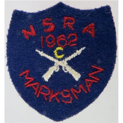 NSRA Class C Marksman 1962 Shooting Prize Badge  Embroidered Army cloth trade badge