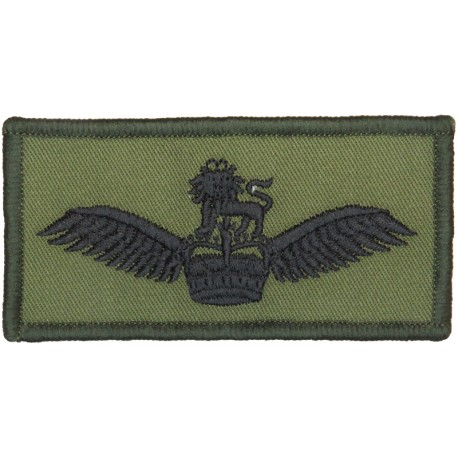 Army Air Corps Pilots Wings - Subdued Rectangle Black On Olive Green with Queen Elizabeth's Crown. Embroidered Army cloth trade