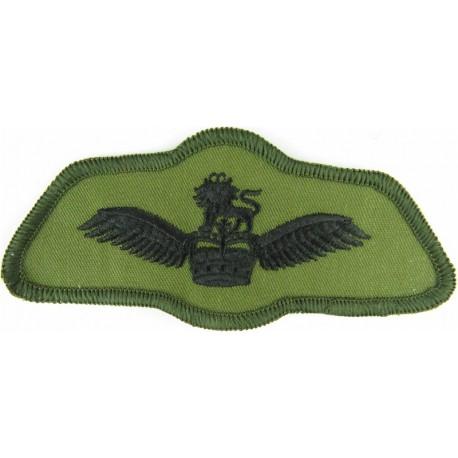 Army Air Corps Pilots Wings - Subdued Shaped Black On Olive Green with Queen Elizabeth's Crown. Embroidered Army cloth trade bad