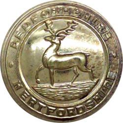 Bedfordshire And Hertfordshire Regiment 25.5mm - 1919-1958  Brass Military uniform button