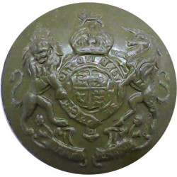 General Service - Royal Arms - WW2 Economy Issue 24.5mm - Green with King's Crown. Plastic Military uniform button