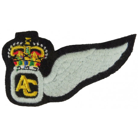Air Crew Half-Wing (Army Air Corps) Crowned AC With Wing with Queen Elizabeth's Crown. Embroidered Army cloth trade badge