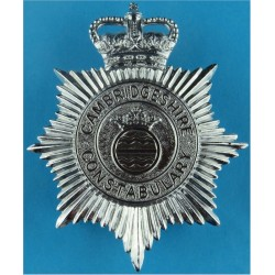 Cambridgeshire Constabulary - Crest Centre Helmet Star with Queen Elizabeth's Crown. Chrome-plated Police or Prisons hat badge