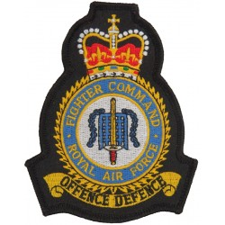 Royal Air Force Fighter Command Flying Suit Crest with Queen Elizabeth's Crown. Embroidered Flying Suit Crest