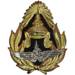 Royal Thai Air Force Cap Badge   Gilt and Chrome Foreign Air Force insignia