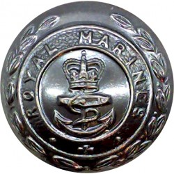 Royal Marines 25mm with Queen Elizabeth's Crown. Bronze Military uniform button