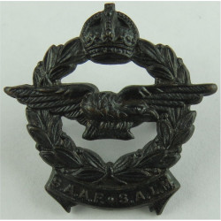 South African Air Force Collar Badge SAAF SALM FR - 1929-1952 with King's Crown. Bronze Foreign Air Force insignia