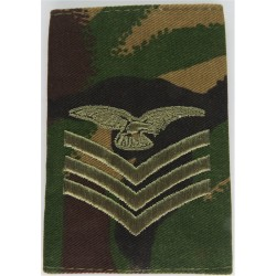 Sergeant Aircrew Royal Air Force - Eagle FR Slip-On Brown On DPM Camo  Embroidered Air Force Rank Badge